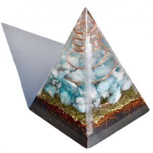 5-Sided Aqua Aura Quartz Orgone Pyramid