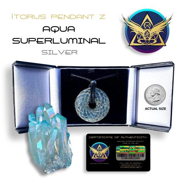 Aqua-Silver iTORUS Orgone Pendant