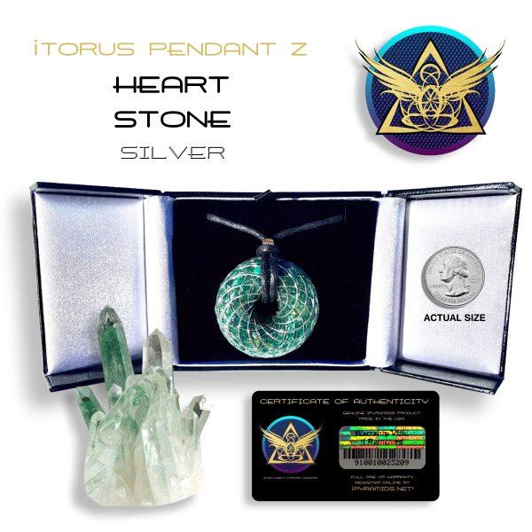Heart Stone Silver Orgone iTORUS Pendant